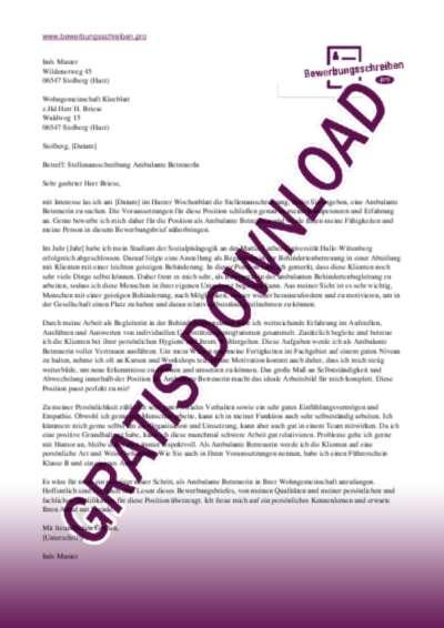 Bewerbungsschreiben Ambulante BetreuerIn