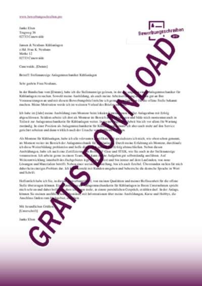 Bewerbungsschreiben AnlagenmechanikerIn Kühlanlagen