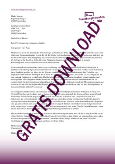 Bewerbungsschreiben AnlagenmechanikerIn