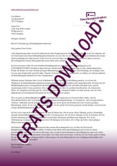 Bewerbungsschreiben BehandlungskoordinatorIn