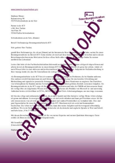 Bewerbungsschreiben BeratungsmitarbeiterIn ICT