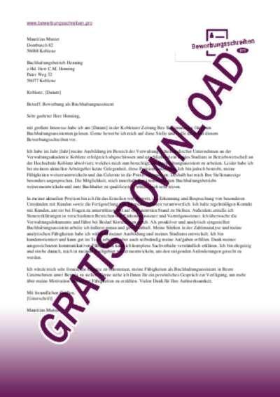 Bewerbungsschreiben Buchhaltungsassistenz