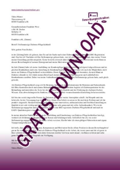 Bewerbungsschreiben Diabetes Pflegefachkraft Muster Vorlagen