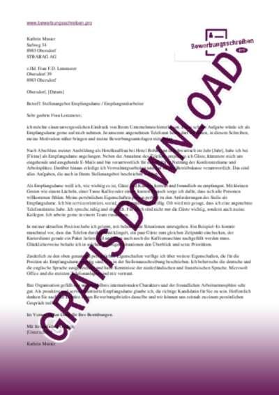 Bewerbungsschreiben Empfangsdame / Empfangsmitarbeiter