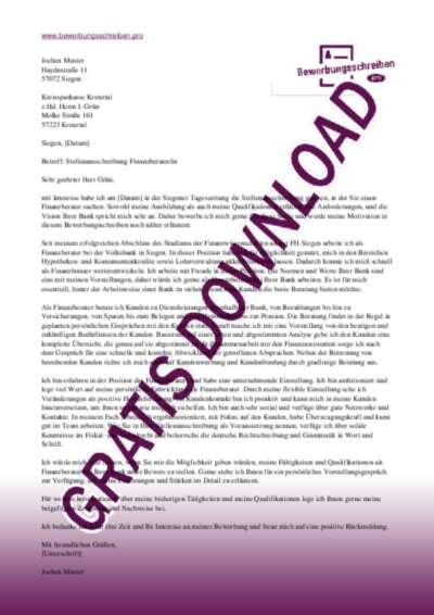 Bewerbungsschreiben Finanzberater(in)