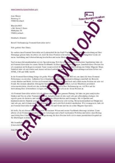 Bewerbungsschreiben Frontend Entwickler (Magento / E-commerce)