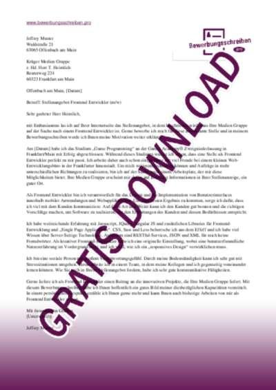 Bewerbungsschreiben Frontend Entwickler (Medien Gruppe)