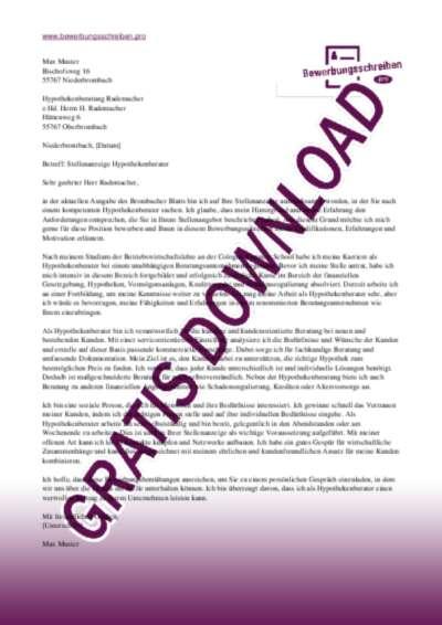 Bewerbungsschreiben Hypothek Berater