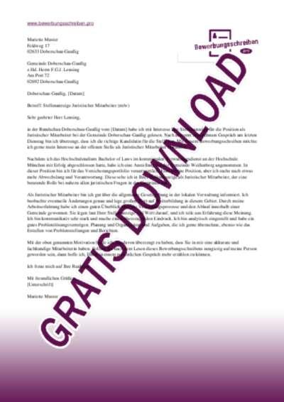 Bewerbungsschreiben Juridischer Mitarbeiter