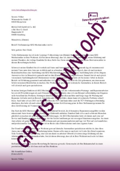 bewerbungsschreiben kfz mechatroniker - Kfz Mechatroniker Bewerbung