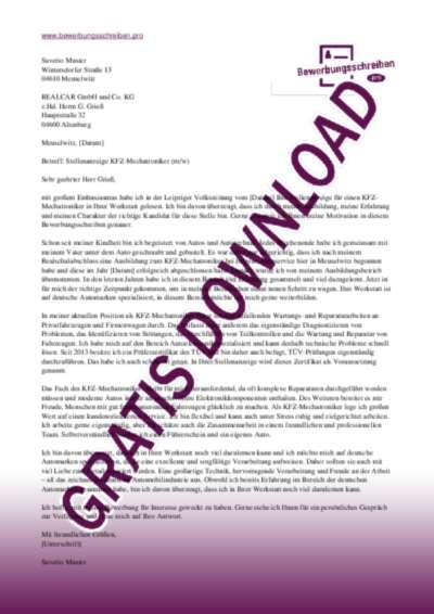 Bewerbungsschreiben KFZ-Mechatroniker