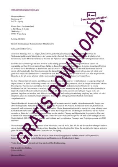 Bewerbungsschreiben Kommerzieller MitarbeiterIn