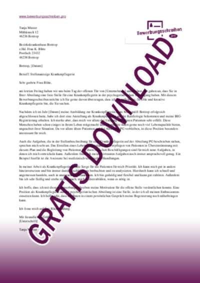 Bewerbungsschreiben Krankenpfleger(in)