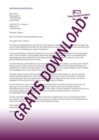 Bewerbungsschreiben Kundenbetreuer(in)
