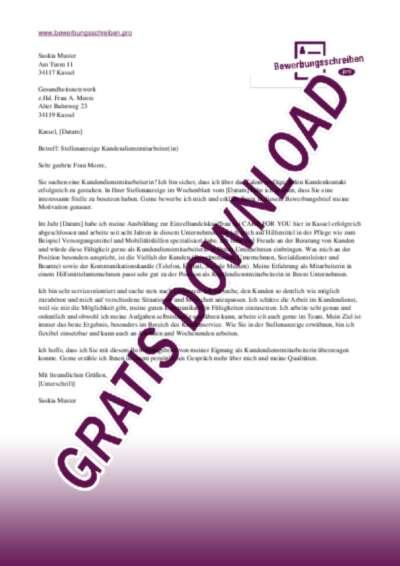 Bewerbungsschreiben Kundendienstmitarbeiter(in) Gesundheitswesen
