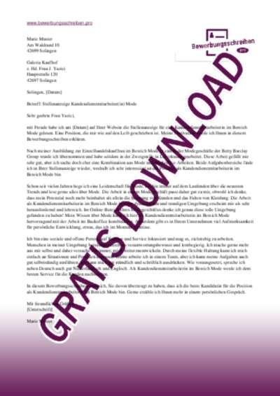 Bewerbungsschreiben Kundendienstmitarbeiter(in) Mode