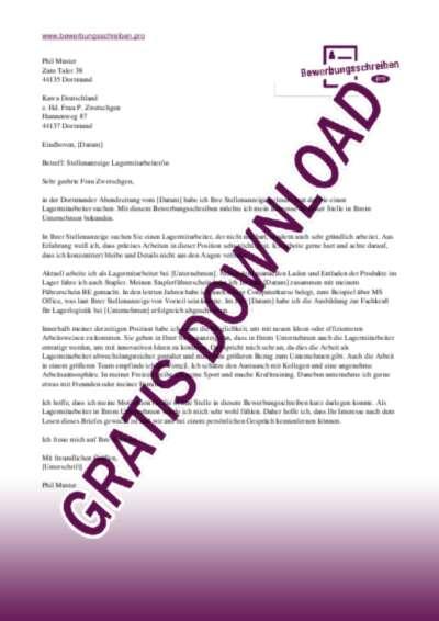 Bewerbungsschreiben Lagermitarbeiterin Muster Vorlagen