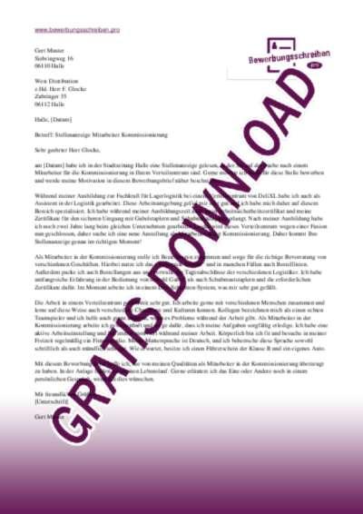 Bewerbungsschreiben Mitarbeiter(in) Kommissionierung
