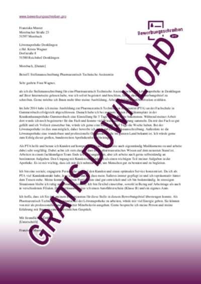 Bewerbungsschreiben Pharmazeutisch Technische Assistent(in)