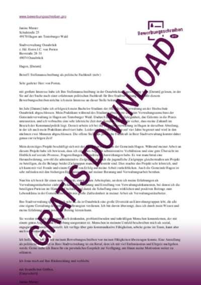 Bewerbungsschreiben Politologische Kraft