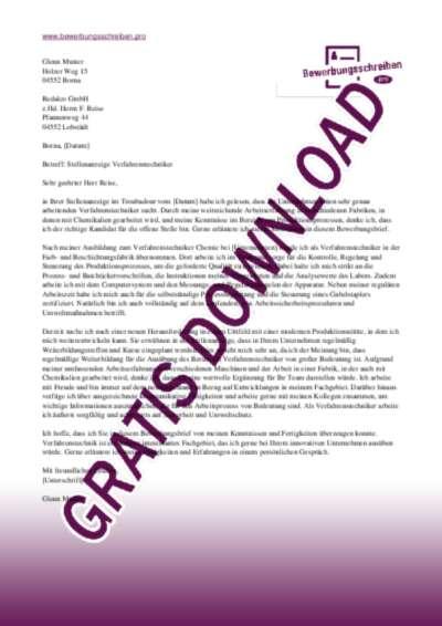 Bewerbungsschreiben Verfahrenstechniker (Chemie)