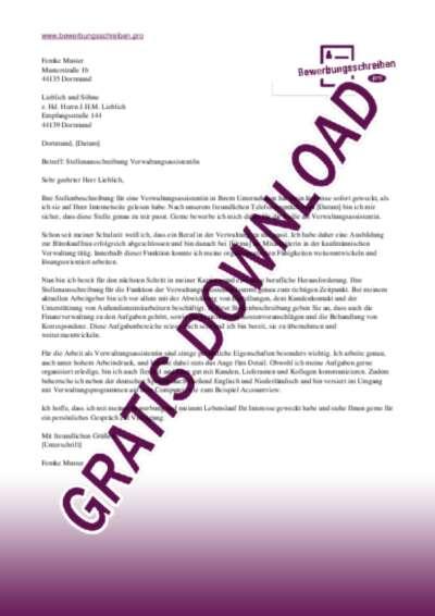 Bewerbungsschreiben Verwaltungsassistentin Muster Vorlagen