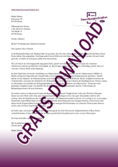 Bewerbungsschreiben Zahnarztassistent(in)